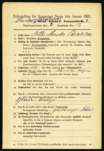 Image from object titled Folketelling 1891 - Lavik og Brekke - personsedler - side 361