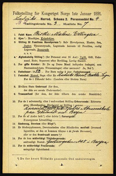 Image from object titled Folketelling 1891 - Lavik og Brekke - personsedler - side 549
