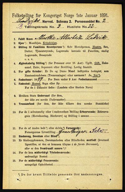 Image from object titled Folketelling 1891 - Lavik og Brekke - personsedler - side 626
