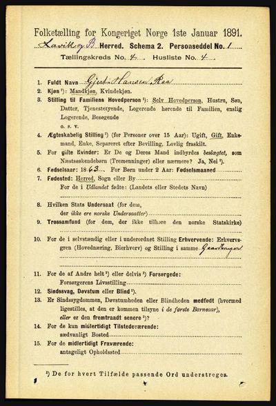 Image from object titled Folketelling 1891 - Lavik og Brekke - personsedler - side 794