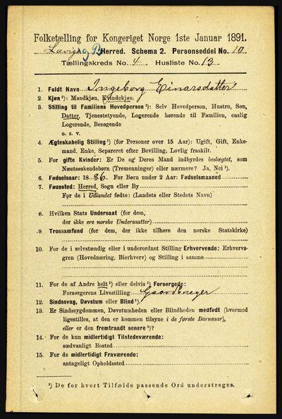 Image from object titled Folketelling 1891 - Lavik og Brekke - personsedler - side 848