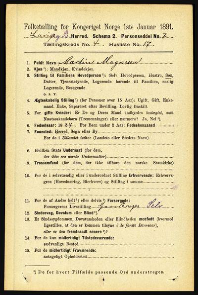 Image from object titled Folketelling 1891 - Lavik og Brekke - personsedler - side 875