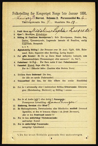 Image from object titled Folketelling 1891 - Lavik og Brekke - personsedler - side 894
