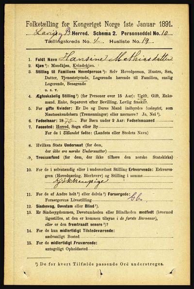 Image from object titled Folketelling 1891 - Lavik og Brekke - personsedler - side 898