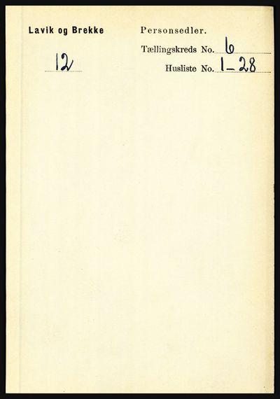 Image from object titled Folketelling 1891 - Lavik og Brekke - personsedler - side 1131