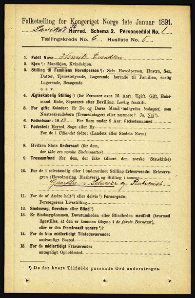 Image from object titled Folketelling 1891 - Lavik og Brekke - personsedler - side 1162
