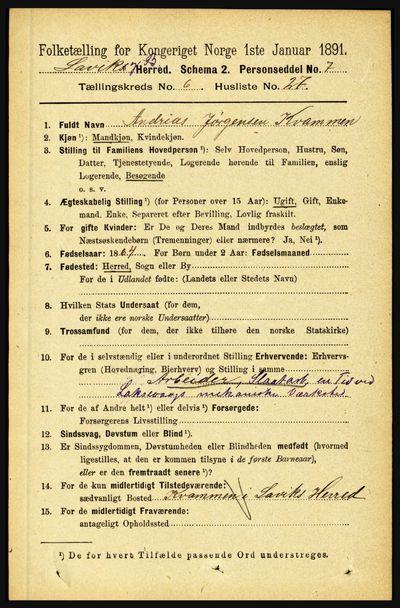 Image from object titled Folketelling 1891 - Lavik og Brekke - personsedler - side 1312