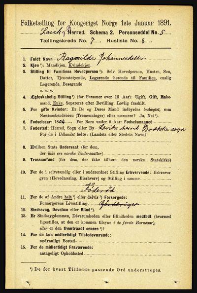 Image from object titled Folketelling 1891 - Lavik og Brekke - personsedler - side 1397