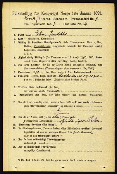 Image from object titled Folketelling 1891 - Lavik og Brekke - personsedler - side 1412