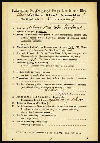 Image from object titled Folketelling 1891 - Lavik og Brekke - personsedler - side 1606