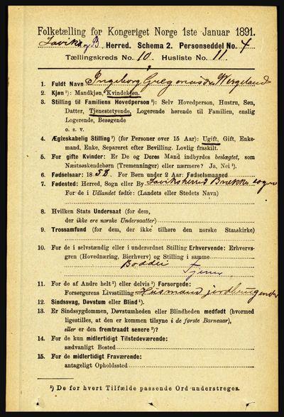 Image from object titled Folketelling 1891 - Lavik og Brekke - personsedler - side 2045