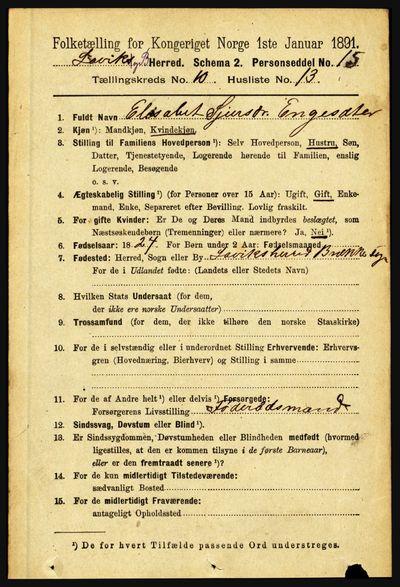 Image from object titled Folketelling 1891 - Lavik og Brekke - personsedler - side 2067