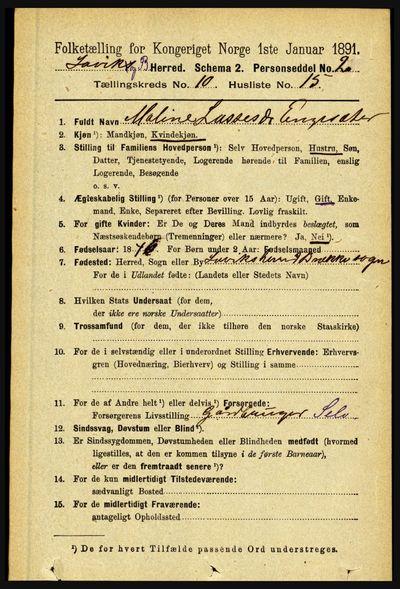Image from object titled Folketelling 1891 - Lavik og Brekke - personsedler - side 2079