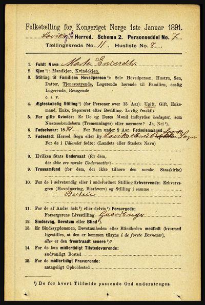 Image from object titled Folketelling 1891 - Lavik og Brekke - personsedler - side 2206
