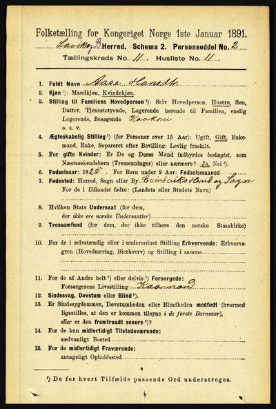 Image from object titled Folketelling 1891 - Lavik og Brekke - personsedler - side 2226