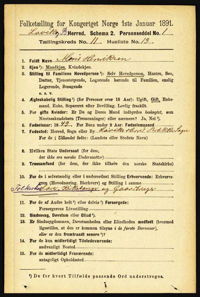 Image from object titled Folketelling 1891 - Lavik og Brekke - personsedler - side 2236