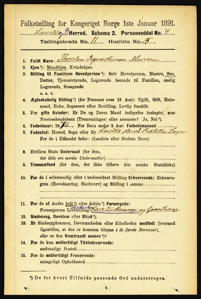 Image from object titled Folketelling 1891 - Lavik og Brekke - personsedler - side 2239