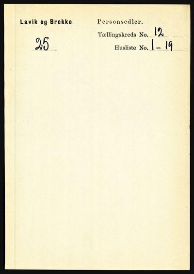Image from object titled Folketelling 1891 - Lavik og Brekke - personsedler - side 2349