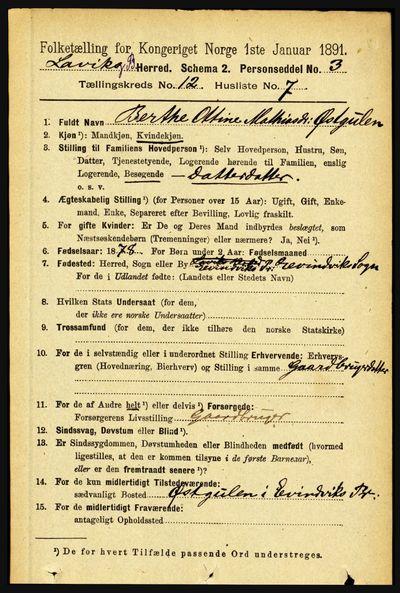 Image from object titled Folketelling 1891 - Lavik og Brekke - personsedler - side 2405