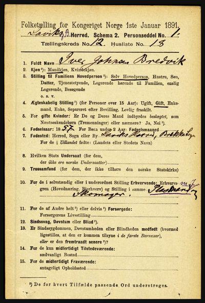 Image from object titled Folketelling 1891 - Lavik og Brekke - personsedler - side 2482