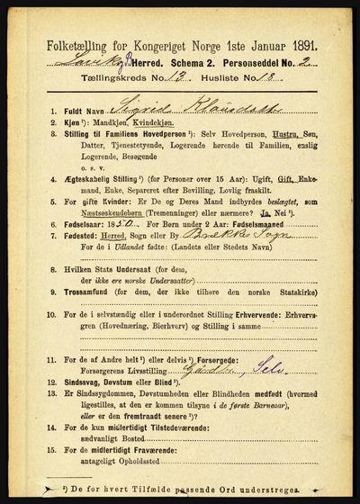 Image from object titled Folketelling 1891 - Lavik og Brekke - personsedler - side 2630