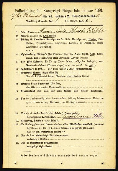 Image from object titled Folketelling 1891 - Ytre Holmedal - personsedler - side 115
