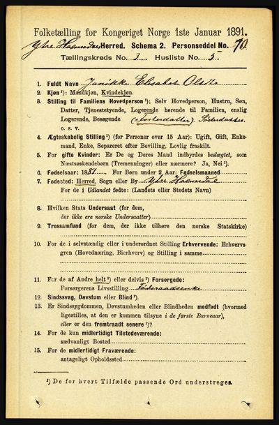 Image from object titled Folketelling 1891 - Ytre Holmedal - personsedler - side 675
