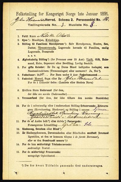 Image from object titled Folketelling 1891 - Ytre Holmedal - personsedler - side 697
