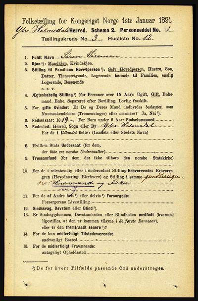 Image from object titled Folketelling 1891 - Ytre Holmedal - personsedler - side 715