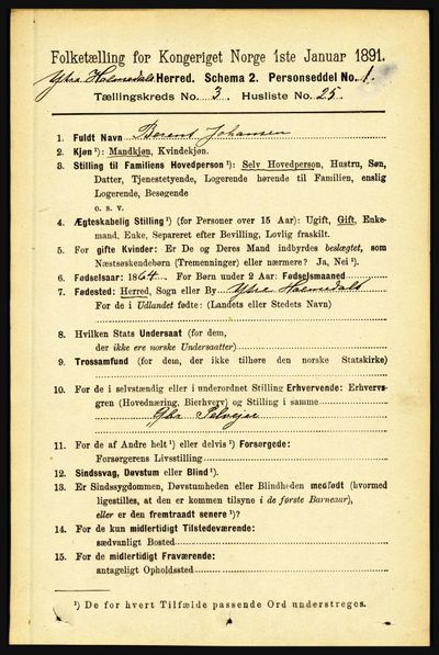 Image from object titled Folketelling 1891 - Ytre Holmedal - personsedler - side 793