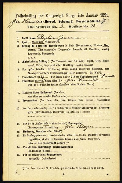 Image from object titled Folketelling 1891 - Ytre Holmedal - personsedler - side 837