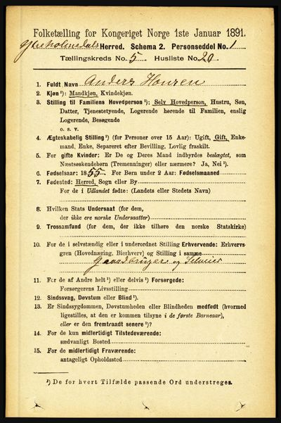 Image from object titled Folketelling 1891 - Ytre Holmedal - personsedler - side 1271