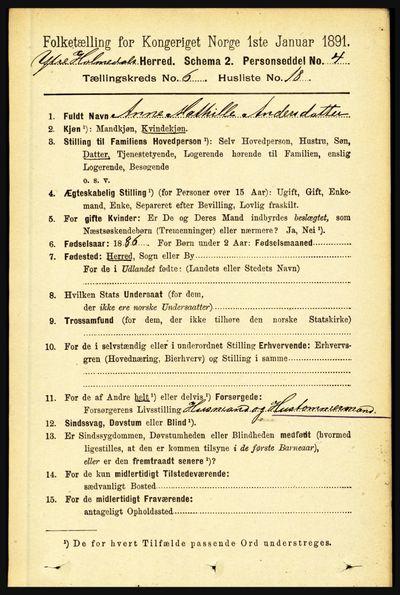 Image from object titled Folketelling 1891 - Ytre Holmedal - personsedler - side 1418