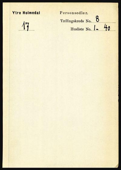 Image from object titled Folketelling 1891 - Ytre Holmedal - personsedler - side 1761