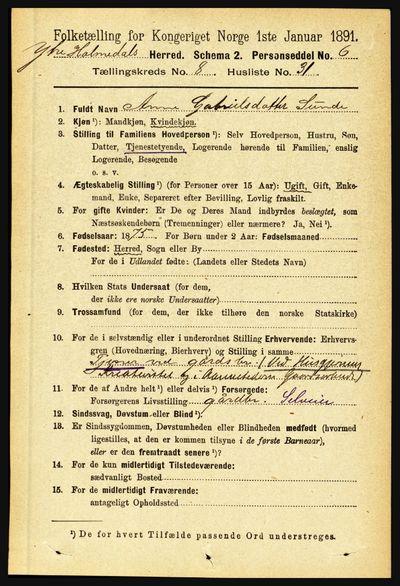 Image from object titled Folketelling 1891 - Ytre Holmedal - personsedler - side 1946