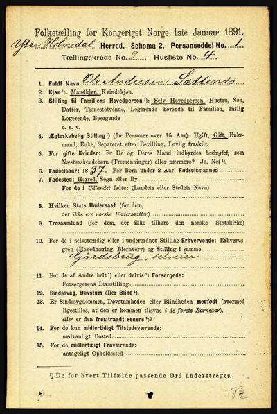Image from object titled Folketelling 1891 - Ytre Holmedal - personsedler - side 2055