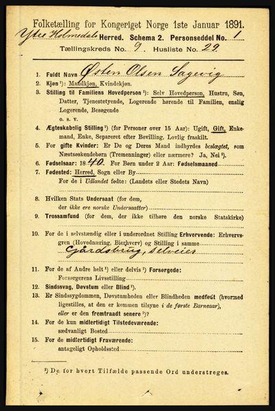 Image from object titled Folketelling 1891 - Ytre Holmedal - personsedler - side 2218