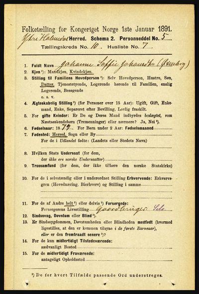 Image from object titled Folketelling 1891 - Ytre Holmedal - personsedler - side 2341