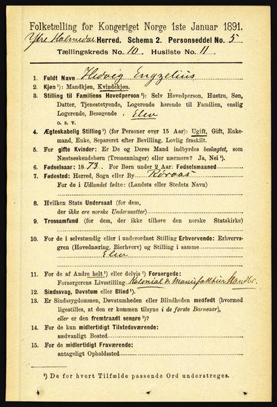 Image from object titled Folketelling 1891 - Ytre Holmedal - personsedler - side 2362