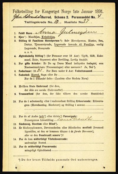 Image from object titled Folketelling 1891 - Ytre Holmedal - personsedler - side 2455