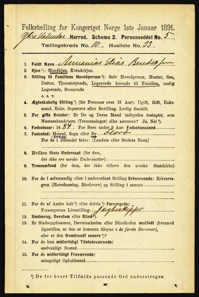 Image from object titled Folketelling 1891 - Ytre Holmedal - personsedler - side 2499