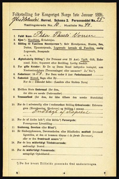 Image from object titled Folketelling 1891 - Ytre Holmedal - personsedler - side 2582