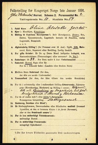 Image from object titled Folketelling 1891 - Ytre Holmedal - personsedler - side 2654