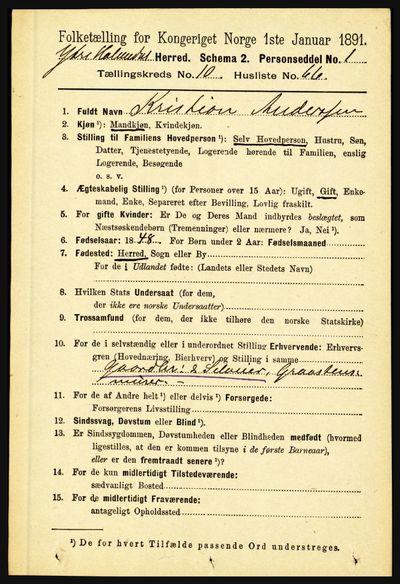 Image from object titled Folketelling 1891 - Ytre Holmedal - personsedler - side 2720