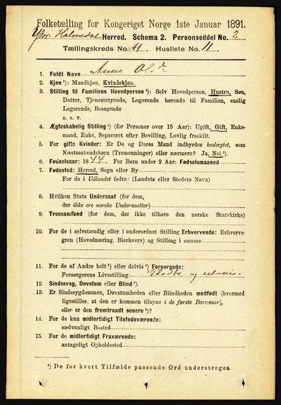 Image from object titled Folketelling 1891 - Ytre Holmedal - personsedler - side 2855