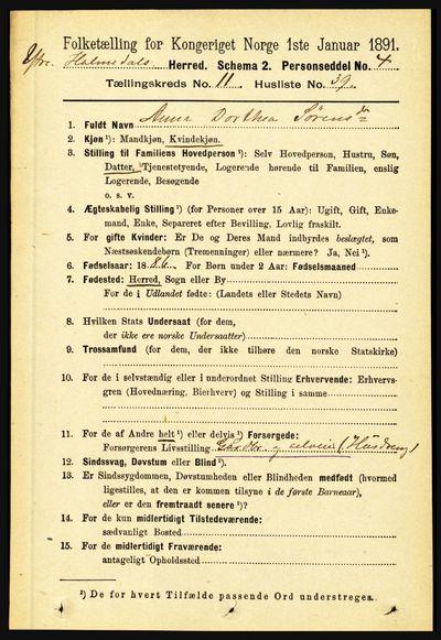 Image from object titled Folketelling 1891 - Ytre Holmedal - personsedler - side 3029