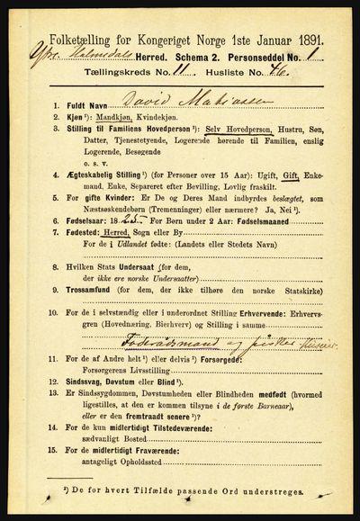 Image from object titled Folketelling 1891 - Ytre Holmedal - personsedler - side 3085