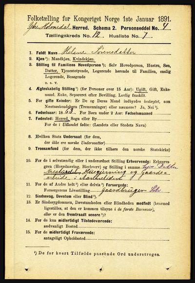 Image from object titled Folketelling 1891 - Ytre Holmedal - personsedler - side 3221