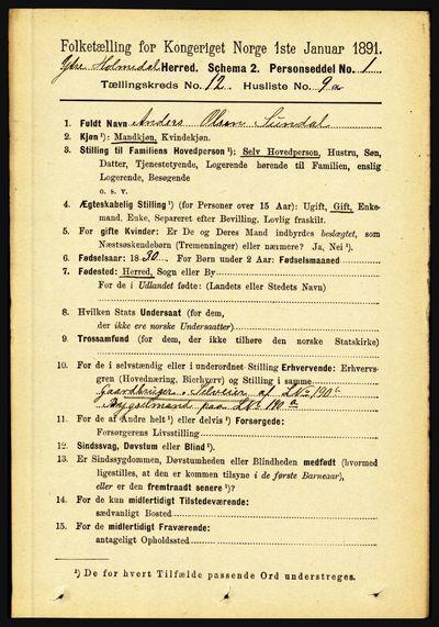 Image from object titled Folketelling 1891 - Ytre Holmedal - personsedler - side 3232