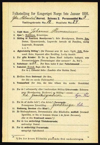 Image from object titled Folketelling 1891 - Ytre Holmedal - personsedler - side 3337